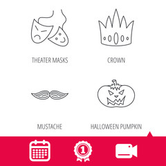 Achievement and video cam signs. Crown, pumpkin and theater masks icons. Mustache linear sign. Calendar icon. Vector