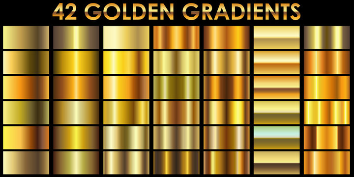 Set of 42 golden color illustrator gradients with black backgrou
