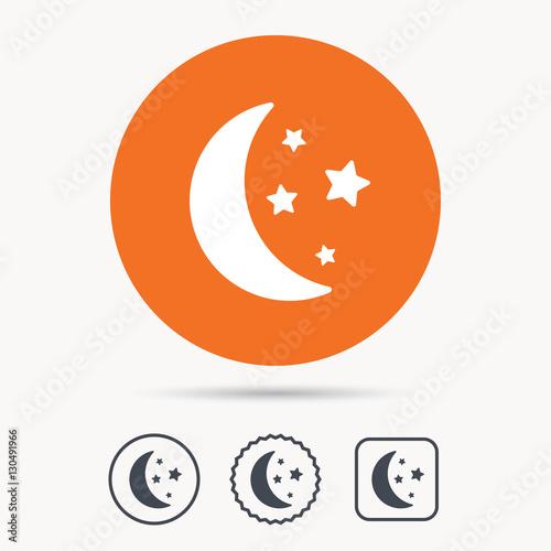 Moon And Stars Icon Night Sleep Symbol Orange Circle Button With