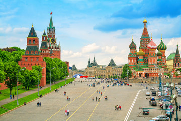 Kremlin and Cathedral of St. Basil at the Red Square in Moscow,