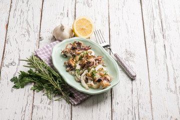 roasted cuttlefish with parsley and lemon