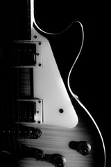 Electric guitar isolated on a black background black and white p