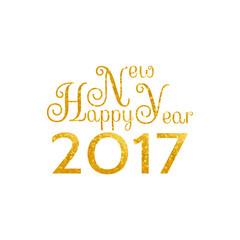 Beautiful golden design of words and symbols Happy New Year 2017