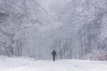 Man in the middle of forest with telephone in winter time