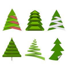 Set of Christmas trees made from paper