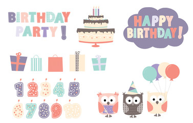 birthday: owls, birthday elements, happy birthday, birthday party text
