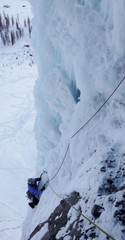 ice climbing in the Sertig Valley in the Swiss Alps