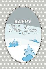 Fond de hotte en verre imprimé Hibou New Year card with winter forest