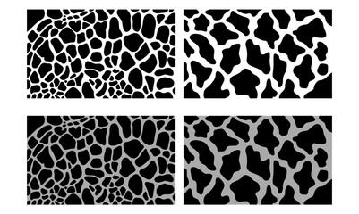 Black Seamless Giraffe Vector Skin Pattern Illustration