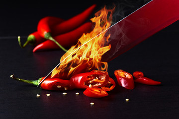 Canvas Prints Hot chili peppers Knife and red chilli pepper