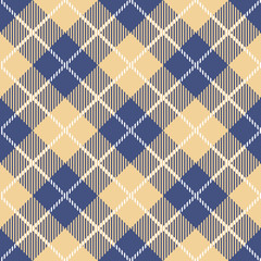 Tartan seamless vector patterns in blue-yellow colors