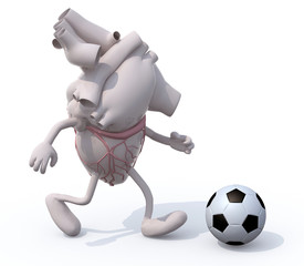 human heart organ with arms and legs that play soccer