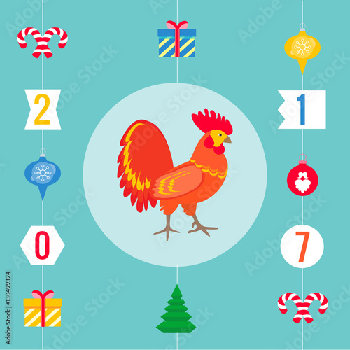 Chinese Symbol For The 2017 Year Of Rooster Stock Image And Royalty