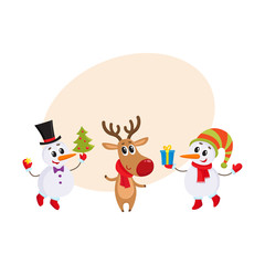 two funny snowman and reindeer holding a Christmas tree and gift box, cartoon vector illustration with background for text. Deer and snowman, Christmas attributes, decoration elements