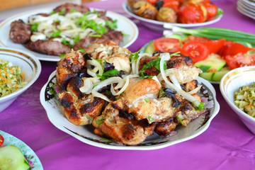 Azerbaijani chicken kebab on a plate