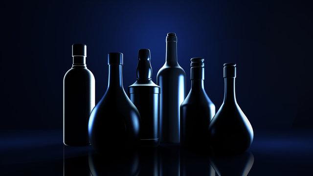 Stylish black background with bottles of hard liquor luxury for