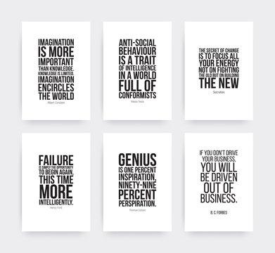 Inspirational motivating quotes set
