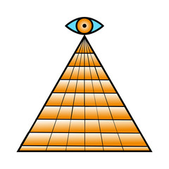 All seeing eye pyramid symbol. Freemason and spiritual.  design gold black icon on wite background.