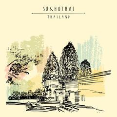 Wat Si Sawai in Sukhothai Historical Park, Thailand. Hand drawn vintage touristic postcard