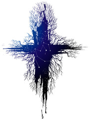 unusual cross of which the roots are pulled out