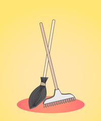 colored figure rake and broom standing down for the harvesting of leaves, debris, work in the garden, in the park, outdoors, in the garden on a gray background, vector illustration