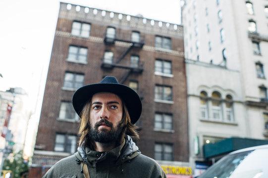 Man wearing hat in the street