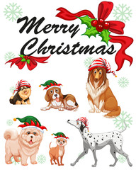 Christmas card template with cute dogs
