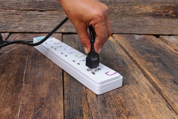 .Electric white socket power bar