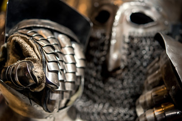 medieval armor of metal helmet and glove