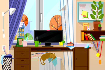 Cartoon style modern web site vector illustration of freelance work place in living room interior.
