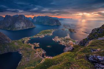 Norway. View from Reinebringen at Lofoten Islands, Norway.