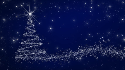 sparkling Christmas tree from stars on a blue background