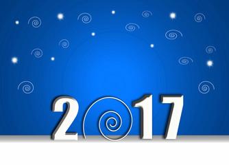 Año Nuevo, 2017, espirales,  fondo azul, iluminado