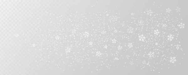 White tender snowflakes, snow falling over wide transparent background, vector illustration. Beautiful realistic winter elements.