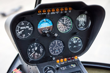 Helicopter Cockpit Flight Instrument Panel Gauges