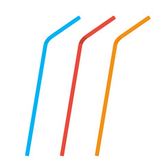 Plastic straws for cocktail set. Orange, red, blue straws. Vector illustration