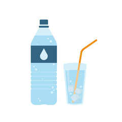 Plastic bottle of pure water with lable and drop on it. Glass of water with ice cubes and orange straw. Set. Vector illustration