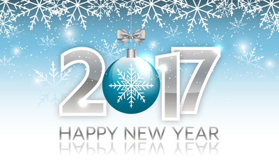 New Year 2017 vector banner with hanging bauble.