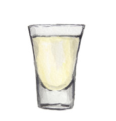 Watercolor alcohol glass with white liquid on white background. Alcohol beverage. Drink for restaurant or pub.