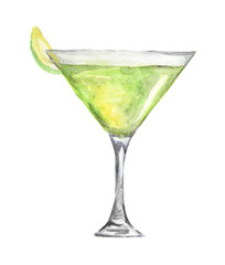 Isolated watercolor cocktail. Isolated glass with alcohol drink on white background. Lime.