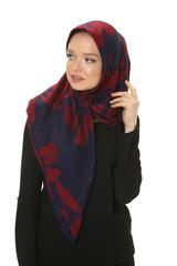 beautiful young muslim women posing in scarf at studio