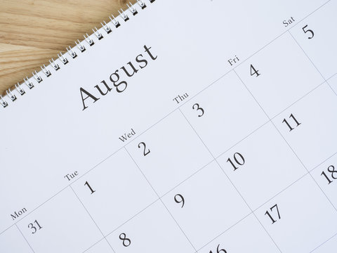 August on white calendar page 2