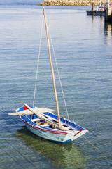 Small wooden sailboat