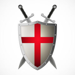 Vector crusaders shield and crossed swords, isolated on white