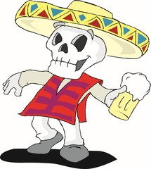 Mexican skull dancing with beer
