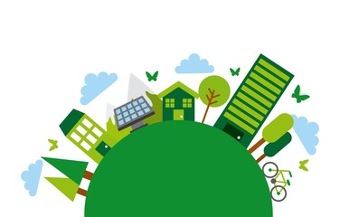 green city icons around circle shape. colorful design. vector illustration