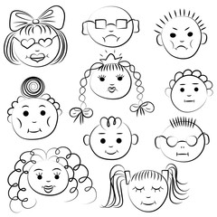 Set of ten cute kids. Funny children drawings of faces. Sketch style. Vector illustration.