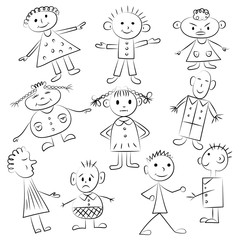 Set of ten cute kids. Funny children drawings. Sketch style. Vector illustration.
