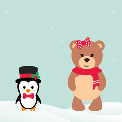 cute penguin with snow and bear