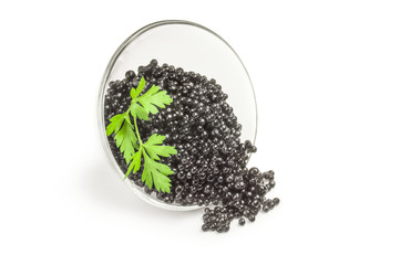 Black caviar isolated on a white background cutout